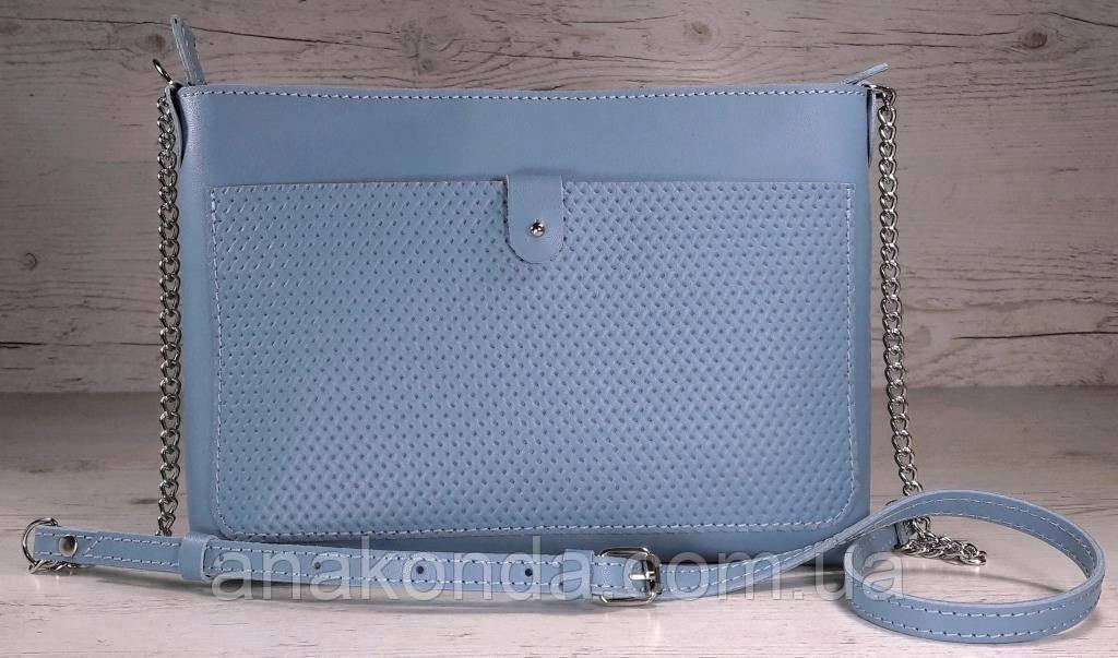 23-2   Натуральная кожа, Сумка- клатч, голубая голубой светло-синяя с тиснением рогожка Little Boy Blue