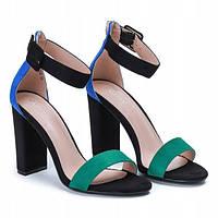 Босоножки на квадратном каблуке черно зеленые