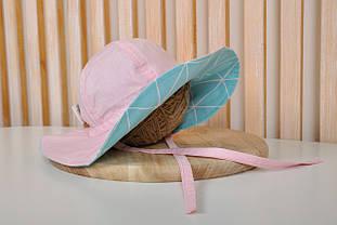 """Панама """"Шарлиз"""" Бирюзовые треугольники с розовым"""