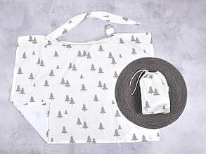 Накидка для кормления + сумочка-чехол, Серые елки
