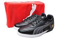 Оригинал! Пара чёрных кроссовок для мужчин Пума Феррари 3.0 LO SF, в модном дизайне, кожаные, 43р.