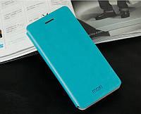 Кожаный чехол книжка Mofi для Samsung Galaxy Alpha G850F бирюзовый