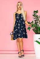 Летнее платье с бантом на спине и мелкими цветочками
