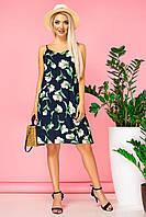 Летнее платье с бантом на спине и крупными цветочками