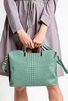 Дамская сумка из кожи под рептилию с металлическими ручками