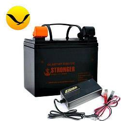 Гелевый аккумулятор Stronger 30a/h + зарядка 10А. Комплект; (Тяговый аккумулятор Стронгер);