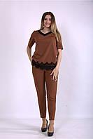 Женский летний костюм с отделкой кружевом, с 42 по 74 размер, фото 1