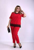 Женский летний костюм с отделкой кружевом, красный с 42 по 74 размер, фото 1