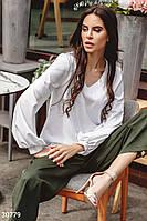 Свободная белая блуза с объемными рукавами S-M, L-XL,2XL-3XL,4XL-5XL