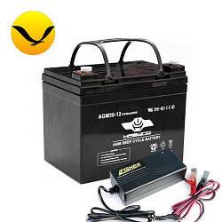 AGM аккумулятор Haswing 30a/h + зарядка 10А. Комплект; (Тяговый аккумулятор Хасвинг);