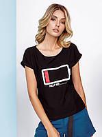 Стильная летняя футболка, черная  S M