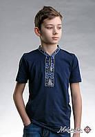 Класична дитяча футболка із вишивкою «Козацька (синя вишивка)», фото 1