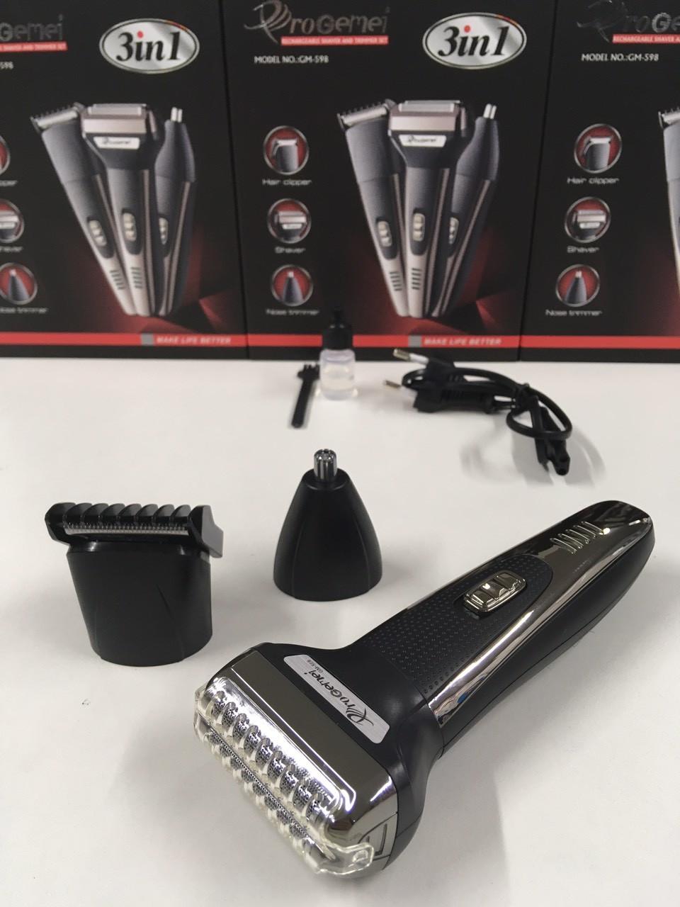 Машинка для стрижки волос+Бритва Триммер 3 in 1 GM-598 (60 шт)