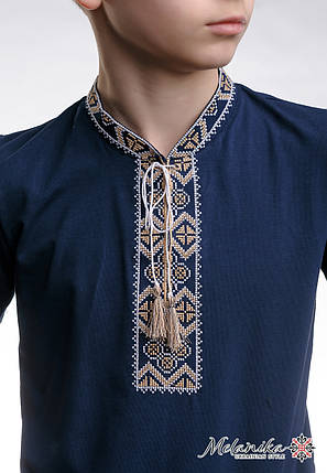 Детская футболка с вышивкой в украинском стиле «Казацкая (бежевая вышивка)», фото 2