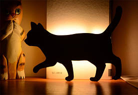 """Світлодіодний Лід нічник """"Йде кішка"""" з вбудованими датчиками звуку і освітленості"""
