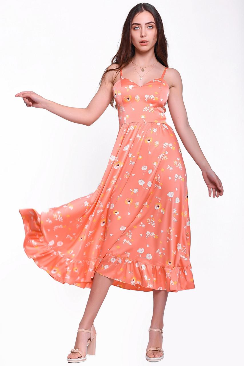 Літній сарафан жіночий довжиною міді з оборкою