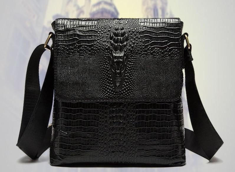 Мужская сумка через плечо в стиле Lacoste! Крокодил
