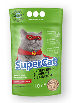 Наполнитель туалетов Super Cat для котов зеленый с ароматизатором 3 кг