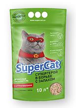 Наповнювач туалетів Super Cat для котів зелений з ароматизатором 3 кг