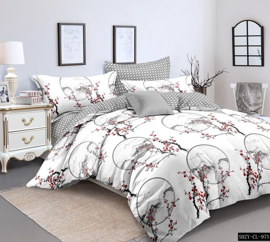 Полуторный комплект постельного белья «Веточка сакуры» 147х217 см из сатина