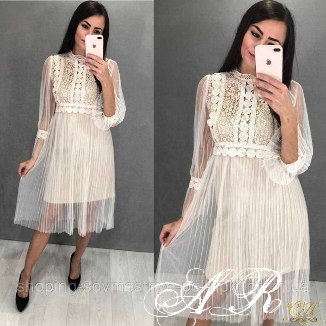 594b6725e92 Нарядное платье из фатина с кружевом миди купить в Украине