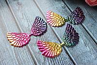 "Аплікація ""Крильця ангела екокожа великі"", 7 х 4 см, 20 шт/уп.,кольори яскрава веселка глянець, фото 1"