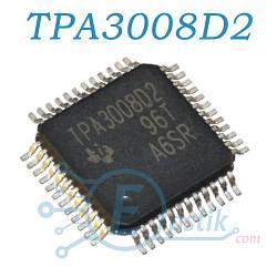 TPA3008D2, двухканальный аудио усилитель D класса, 10Вт., HTQFP48