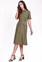 Летнее женское платье длиной миди на пуговицах, фото 2