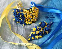 """""""Жёлто-синий жасмин"""" бутоньерка+браслет. Свадебный комплект в украинском стиле., фото 1"""