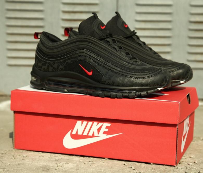Мужские кроссовки Nike Air Max 97 Reflective Logos Black , Реплика