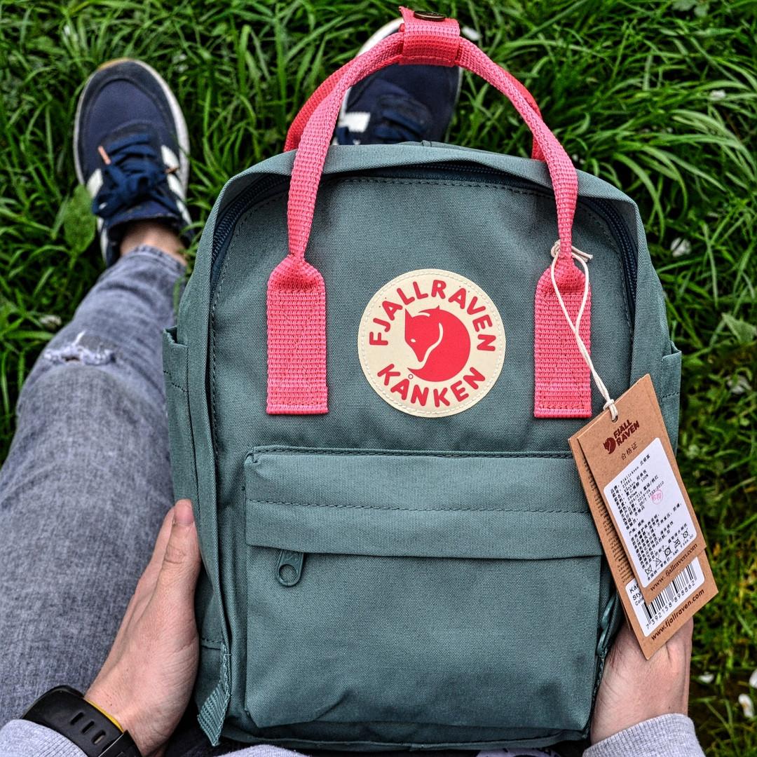 """Рюкзак  Fjallraven Kanken,  mini """"Frost Green Peach Pink"""". Стильный городской рюкзак. Реплика. ТОП КАЧЕСТВО!!!"""