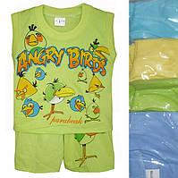 """Детский костюм для мальчика """"Angry Birds"""" лимонный от 6 мес до 24 мес майка с шортами"""