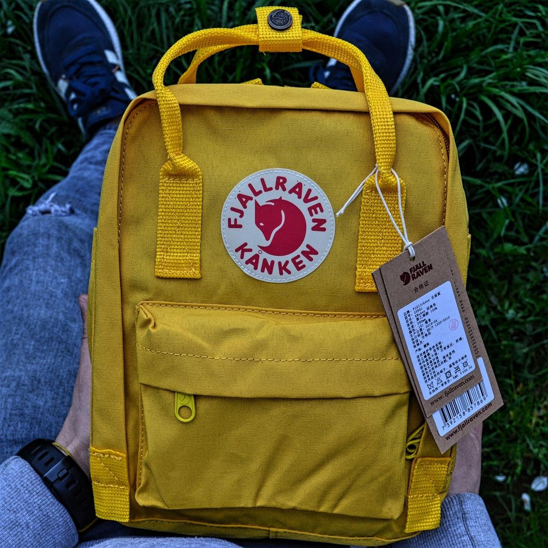 """Рюкзак  Fjallraven Kanken  mini """"Warm Yellow"""". Стильный городской рюкзак. Реплика. ТОП КАЧЕСТВО!!!"""
