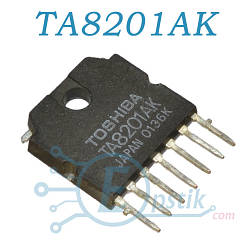 TA8201AK, микросхема аудио усилитель, HSIP7