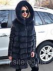 Утепленная Куртка-Трансформер с Мехом Песца  0147ШТ, фото 7