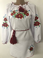 Красивое платье с вышивкой для девочки на рост от 128 до 152 см