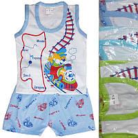 Детский костюмдля мальчика с паровозикомбелый с голубымот 6 мес до 24 мес майка с шортами
