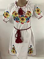 Красивое женское платье вышиванка с подсолнухами