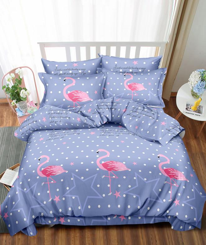 Двуспальный комплект постельного белья «Розовый фламинго» 177х217 см из сатина