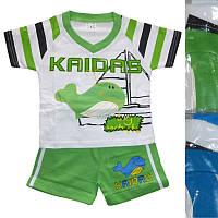 Детский костюм для мальчика с китом от годика до 5 лет футболка с салатовыми шортами