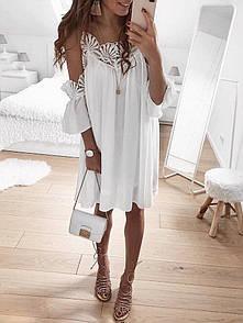 Свободное шифоновое платье с разрезами на плечах 68py2734