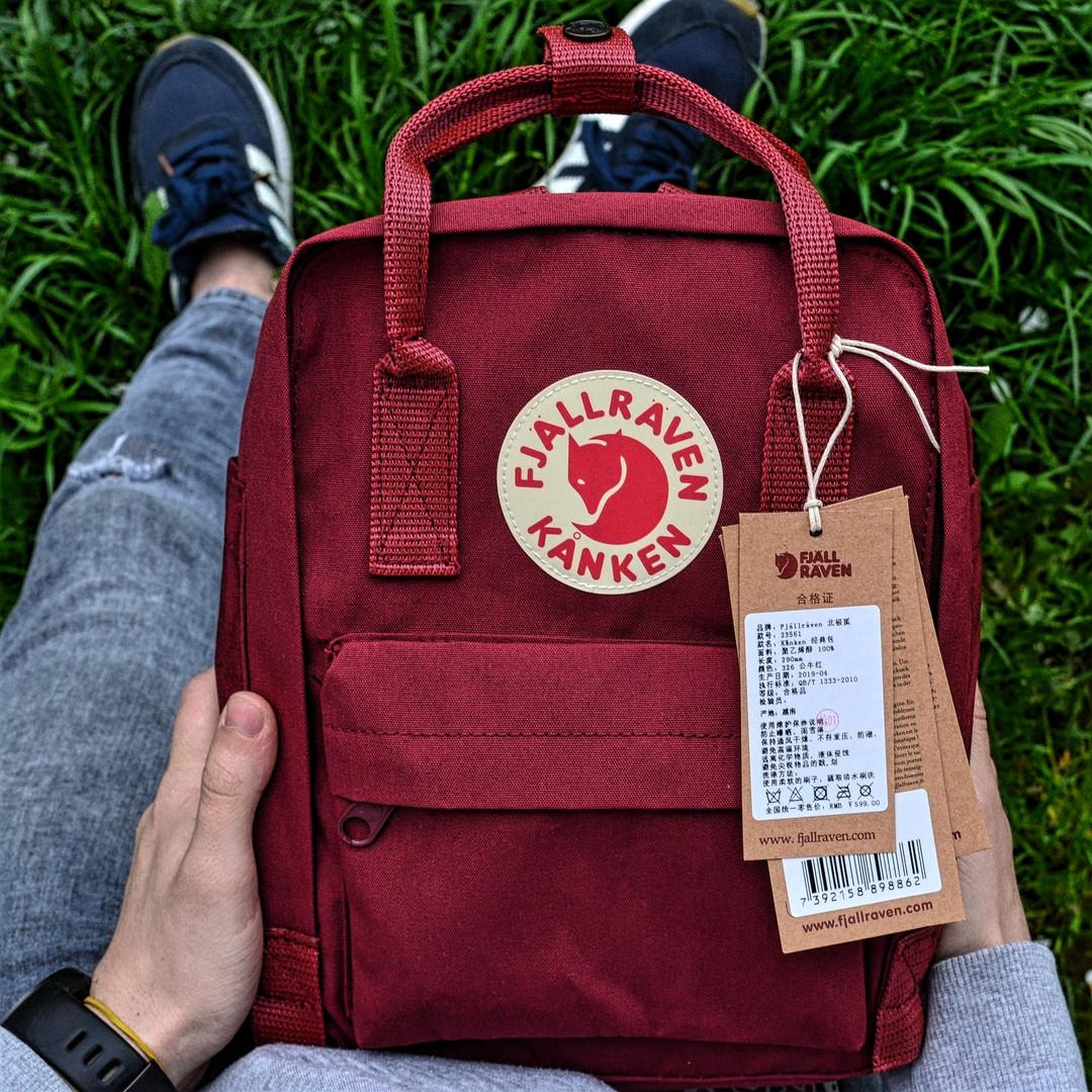 """Рюкзак Fjallraven Kanken mini """"Ox Red"""". Стильный городской рюкзак."""