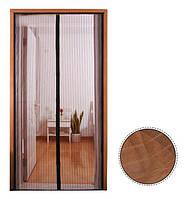 Анти москитная сетка штора на магнитах Magic Mesh коричневая