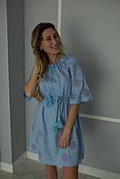 Голубое женское платье - вышиванка вышито крестиком