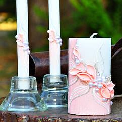 Свадебные свечи пудровый цвет