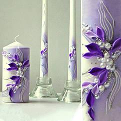 """Свадебные свечи """"Семейный очаг"""" в фиолетовом цвете"""