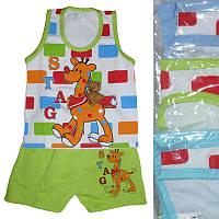 """Детский костюм для мальчика майка с шортами от 6 мес до 24 мес """"Жираф с мишкой"""" салатового цвета"""