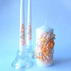 Свадебные свечи персиковые