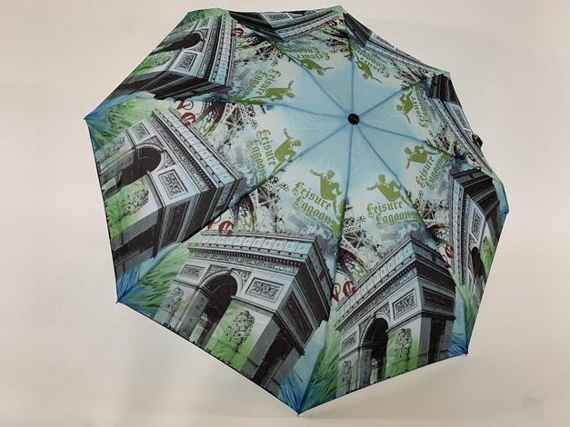 Мини зонтики механические с городами 8 спиц 5 сложений цвет зеленый и голубой