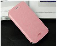 Кожаный чехол книжка Mofi для Samsung Galaxy Ace 4 Duos G313HU розовый